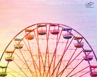 Ferris Wheel Print, Ferris Wheel Photo, Ferris Wheel Picture, Pink Nursery Print, Girls Room Print, Rainbow Print, Rainbow Picture