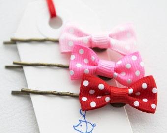 Tiny Poka Dot Bow Hair Pins
