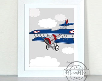 Airplane Nursery , Vintage Airplane Art  Nursery Print, Kids Wall Art - Art for Boys,  Chevron Art Print