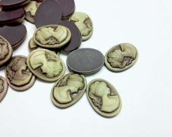4PCS Two-Tone Brown Vintage Style Resin Cameo Cabochon 18x13mm