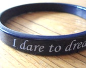 "Marine blue bracelet- ""I dare to dream"" bangle- dark blue jewelry- woman jewelry-beach-  letter jewelry- hipster gift"