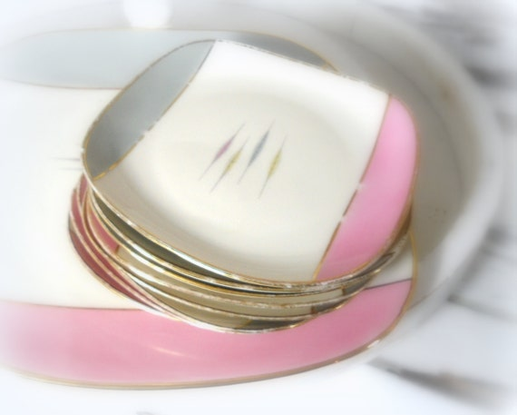 Cake plates- 9 pcs set- mid century - vintage party- pink grey serving set- gold edge- Bavaria porcelain-food wedding