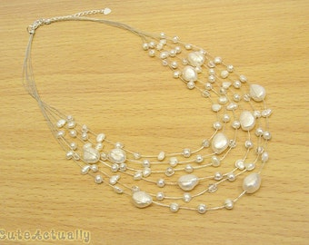 White freshwater pearl necklace with crystal on silk thread, multistrand necklace, bridal, wedding