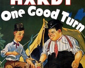 Vintage Movie Poster Fridge Magnet Laurel & Hardy in One Good Turn campfire camping tent