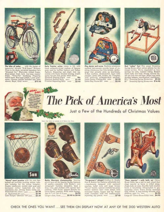 Toys From 1953 : Vintage western auto toy print ad pages color by