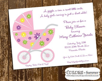Pink Floral Carriage Baby Shower Invitation - Digital File