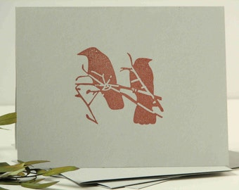hand stamped cards, bird theme, simple style, crow note cards, set of 4