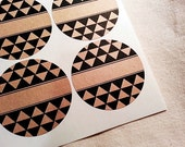 Tribal Triangles Geometric Pattern Kraft Brown Mason Jar Labels / Custom Jar Labels