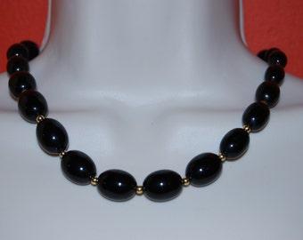 Statement Necklace Chunky Black  Beaded Necklace Bold Vintage