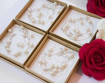 SET OF 6 Bridesmaid gifts-Pearl Jewelry sets (Many COLORS Available), pearl necklace, bracelet, earrings