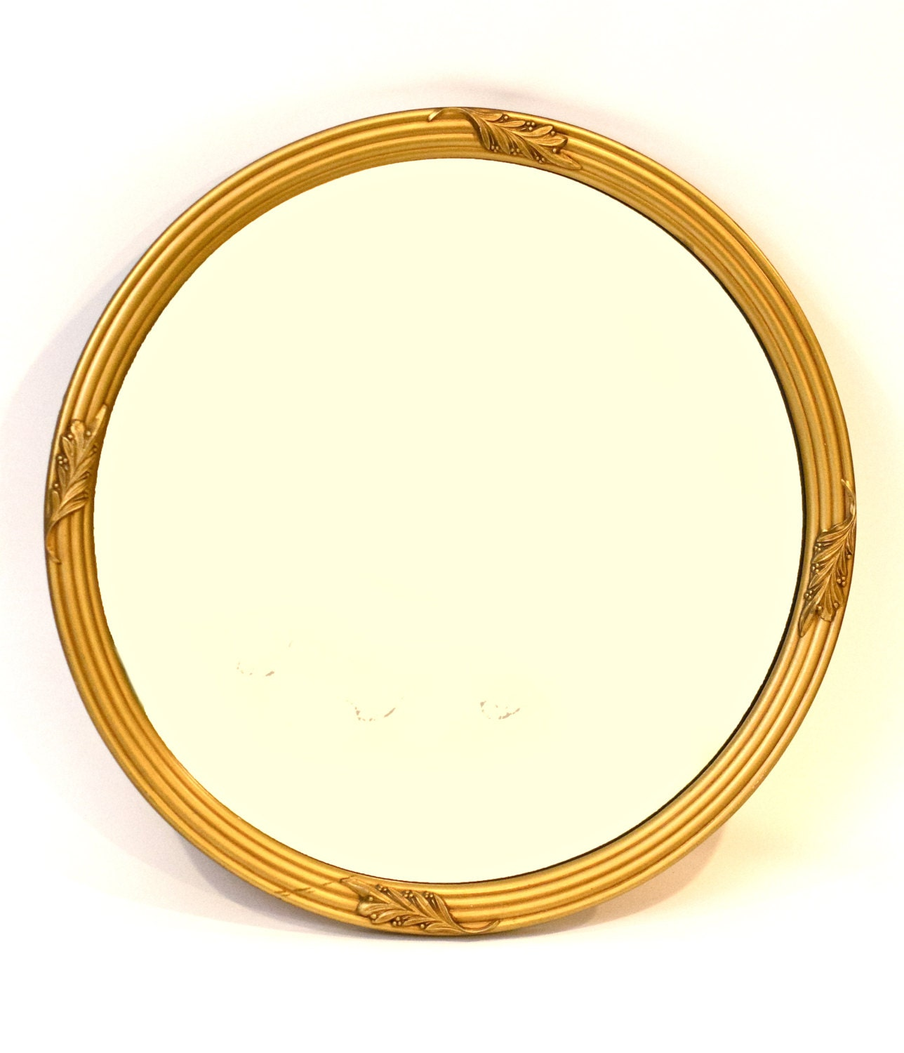 Round mirror gold mirror wall mirror large by for Large round gold mirror