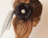 BLACK BIRDCAGE Veil,Tulle with Black Flower and Rhinestone Brooch.Black Veil Fascinator.