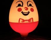 Mod Red & White Humpty Dumpty Vintage Lamp - Children's Lighting 1970s-1960s