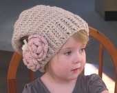 Handmade Crochet Slouchy Hat Beige wth Pink Flowers and Leaves Little Girl Toddler Tween Teen Photo Prop Made to Order