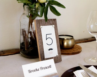 Rustic Wood Table Numbers with Mustache and Lips - Printed Table Numbers - Country Chic Wedding