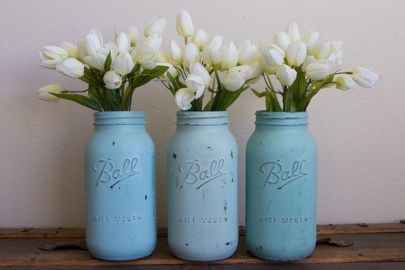 Items similar to large painted mason jars vintage