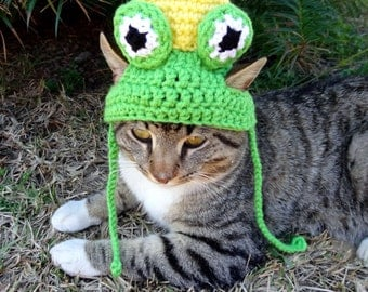 Frog Cat Hat, Frog Cat Costume, Frog Prince Cat Hat, Frog Prince Hat for Cats, Frog Prince Costume for Cats