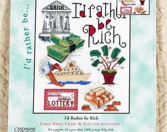 I'd Rather Be Rich, Cross Stitch Kit, Candamar Designs 51590, 8 x 10
