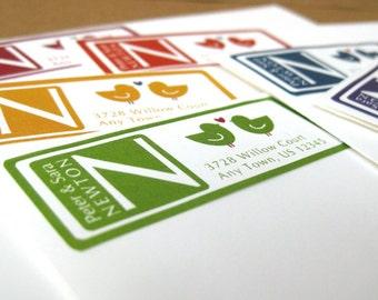 Address Labels, Love Bird Address Label Stickers, Monogram Address Labels, 60 Custom Address Label Stickers, Return Address Labels