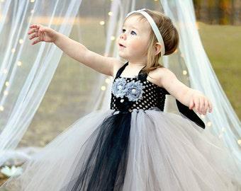 Silver and Black Flower Girl Tutu Dress  Baby Girls Toddler Tea Length Long Flower Tulle Gray Silver Platinum