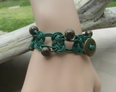 Distressed Green Leather Macrame Bracelet with Josephine Knot and Stone-Like Beads with Button Closure