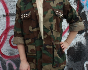 Studded Camouflage Army Shirt - Assorted Sizes