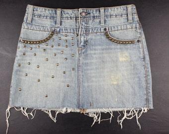 Distressed Studded Denim Jean Mini Skirt Size 0