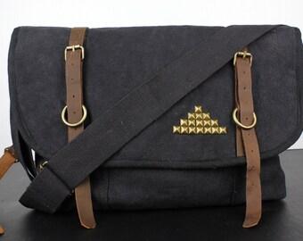 Pyramid Studded Canvas Messenger Bag