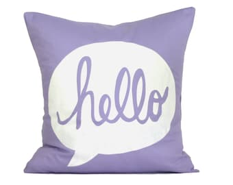 "HELLO Pillow Cover // 16""x16"" Silk Screen Lavenderl Pillow Cover"