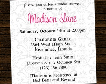 Custom Bridal Shower Invitations - DIY Printable File