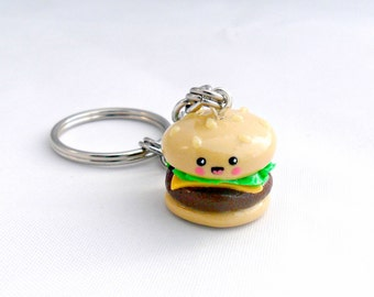 Kawaii Hamburger Charm Keychain, Key Chain, Key ring :D