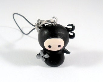 Kawaii Ninja Chibi Charm with Shuriken, Keychain, Dust Plug, or Cell Phone Strap, Cute :D