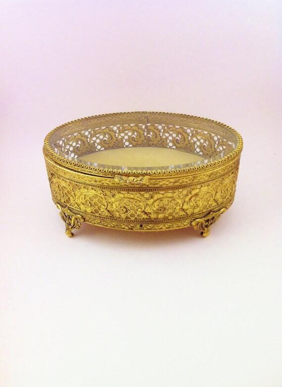 Vintage Oval Gold Filigree Box Gilt Jewelry Trinket Box