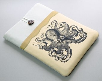 "MacBook Pro Retina 15"" Sleeve, padded protective laptop case, black octopus, Custom 15,6 laptop sleeve, Apple laptop cover,"