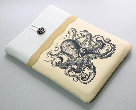 MacBook Pro 13 Case, padded protective laptop cover, black octopus, mustard front pocket, Macbook Retina 13, Apple laptop case, Air sleeve