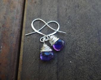 Earrings Purple Chalcedony Wire Wrapped Silver Hook Earrings - Valentine Jewelry