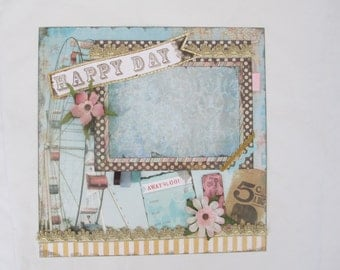 Pre-Made Vintage Style Scrapbook Layout, Happy Day. Antique Circus, Fair, Amusement Park, One-of-a-Kind Art, Aqua, Pink