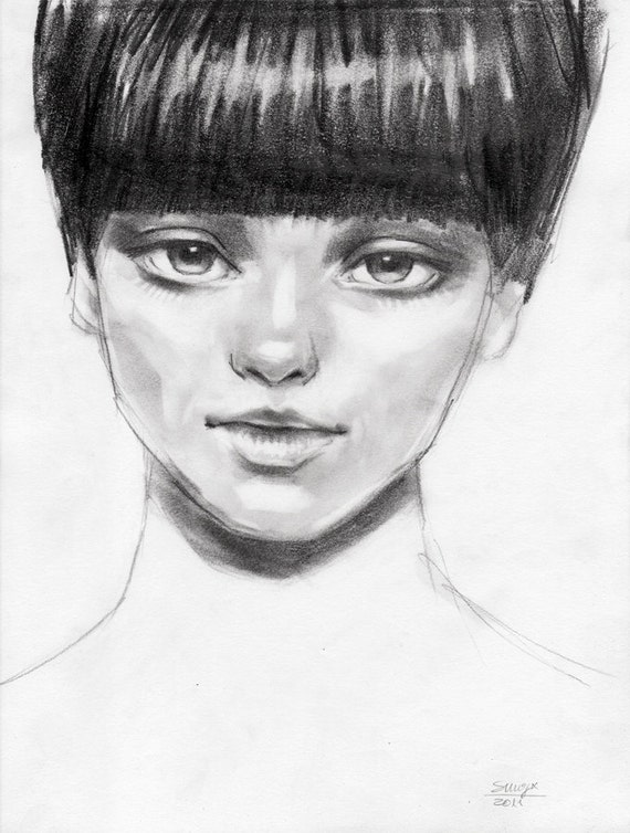 Fashion Portrait Drawing Fashion Portrait of a Girl