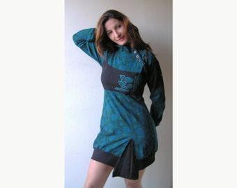 Winter Dress - Cotton Fleece Dress  - Dress with prints