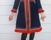 Vintage 1970s coat. Blue wool coat with amazing multi-colored embroidered accents and hood. Boho. Folkloric Charm. Size XS/S. - IfYouPleaseVintage