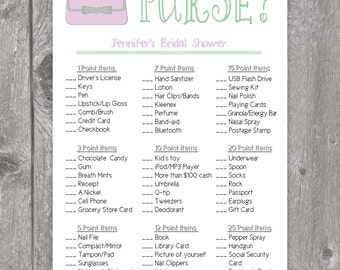 Printable Whats In Your Purse Bridal Shower Game