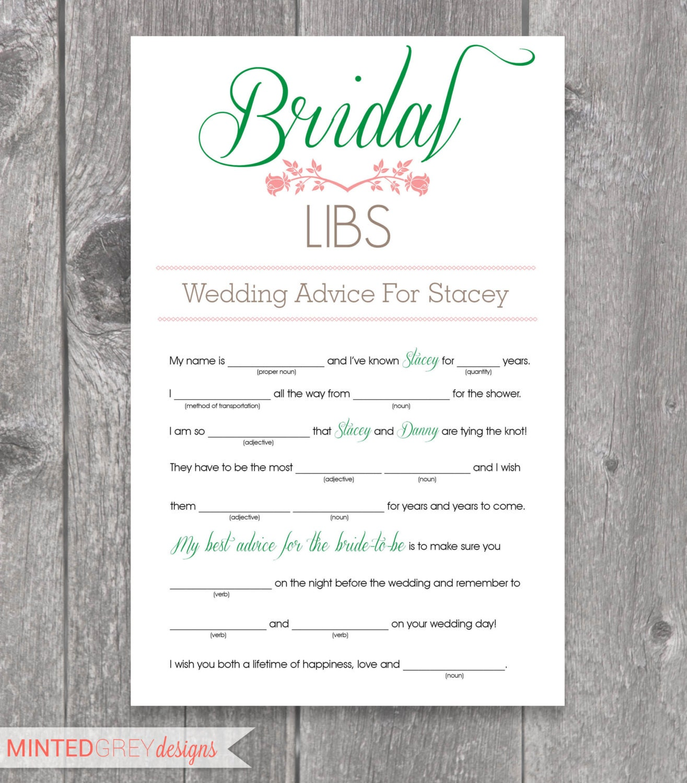 Wedding Mad Lib Shower Game