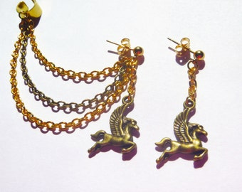 Flying Horse Ear Cuff and Earring