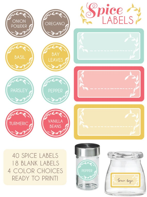 Spice cabinet facelift u0026 free printables snippets of - Labels for kitchen cabinets ...