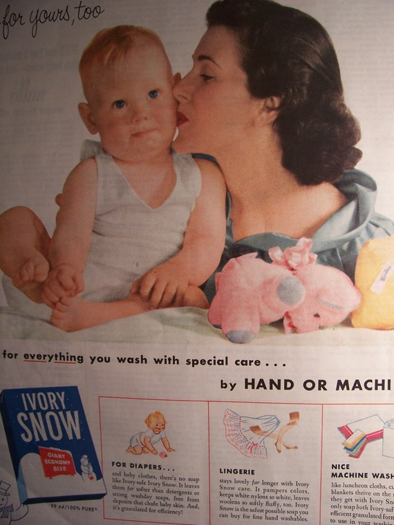 1950s IVORY SNOW Vintage Advertising Childrens Baby Clothing Laundry Soap Washing Machine Detergent Laundry Room Decor Ready To Frame