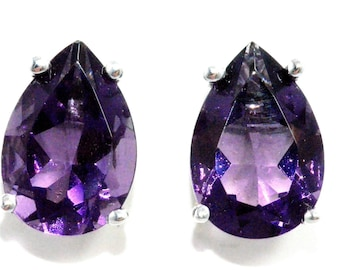 4 Carat Amethyst Pear Stud Earrings Sterling Silver Rhodium Finish White Gold Quality
