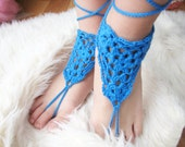 Crochet barefoot sandals blue Beach shoes Foot jewelry Anklet Crochet yoga shoes Pool party barefoot shoes