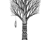 Digital Art Print of an Original Fine Art Line DrawingFloating Island Protector Tree Feather with Pattern Design, Black and White