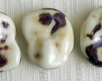 Bead, precious, gemstone, natural, stone, nugget Deep Purple and Cream Chunky Free Form Slab Clay Beads - 3 pcs