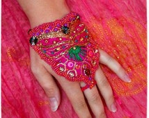 MAHARANI Sari silk cuff, made to order, Neon pink, beaded embroidery, hand jewelry, Bollywood, Boho, gyspy, Green, Gold, Bellydance